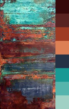 Colour palette, rust and teal.