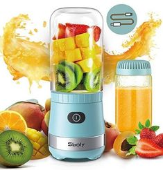 Portable Mini Blender, Personal Blender USB Rechargeable for Smoothies and Shakes with 2 Tritan BPA-Free Blender Cups, Small Smoothie Maker Protein Juice Blender Mixer (Blue) Juicing With A Blender, Mini Blender, Portable Blender, Smoothie Blender, Smoothies, Juice Blender, Fruit Blender, Blender Bottle, Kitchen Organization