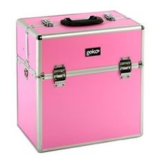 Professional Vanity Case / Makeup Box Black / Silver / Pink