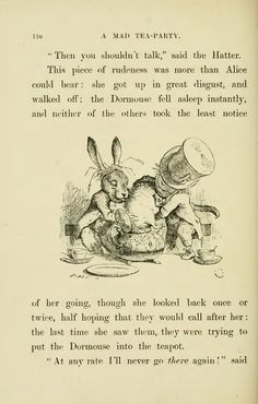Illustration from: Alice's Adventures in Wonderland by Lewis Carroll with fourty-two illustrations by John Tenniel; New York, Alice In Wonderland Silhouette, Alice In Wonderland Book, Adventures In Wonderland, Mad Hatter Tea, Mad Hatters, Alice Madness, Lewis Carroll, Through The Looking Glass, Old Paper