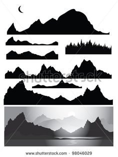 Silhouettes of mountain for design, all elements of rocks and forest  are seamless