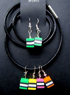 """Yum Yum - teensy liquorice allsort beads on necklace and earrings.Leather necklace is 18"""" long and earrings are ~35mm long."""