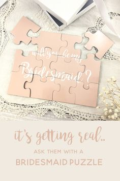 How are you asking your bridesmaids? Bridesmaid Puzzles match your wedding colors and are perfect for proposing to your girls! Bridesmaid Boxes, Asking Bridesmaids, Bridesmaid Proposal Box, Bridesmaids And Groomsmen, Bridesmaid Flowers, Wedding Bridesmaids, Bridesmaid Gifts, How To Ask Your Bridesmaids, Wedding Stationery