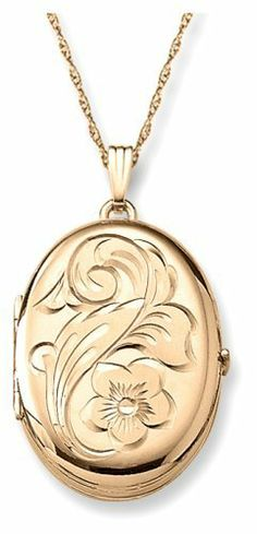 "14k Gold Filled Engraved Flower 4-Picture Oval Locket, 20"" Amazon Curated Collection. $116.00. This item is handcrafted in the USA"