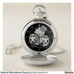 Black & White Movie Classics Pocket Watch Personalized Pocket Watch, Pocket Watches, Personal Shopping, Make A Gift, Cool Watches, Portal, Colorful Backgrounds, Quartz, Man Shop