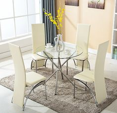 5 Piece 4 Chairs Dining Table Set Round Glass high Back Kitchen Room Furniture