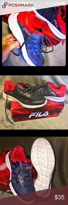 BNIB🛑Boys💥 FILA size 4 Too small for my son! 😜😊FILA size 4 youth ! In perfect shape only tried on once! 2nd pic is taken without flash that's why it doesn't look as blue as other pics....has box but it's a bit banged up. Fila Shoes Sneakers