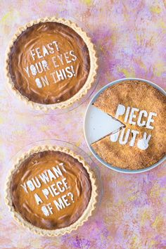 DIY Pie Stencil Pies~ How Fun is this!! !Stencil their  favorite pie with Powdered Sugar for a fun personalized treat!!