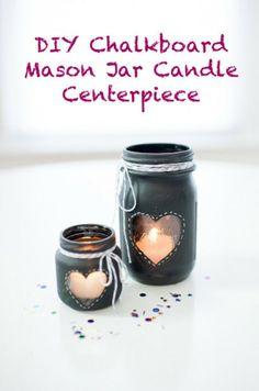 10+ Super Cute DIY Valentine Chalkboard Crafts: Chalkboard mason jar candle centerpiece