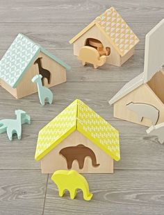 Shop Animal Matching Game.  Little ones will love learning about shapes and colors with this animal matching game.  Place the different animals into their correct homes, then open the roof for easy access. #fashion/giftideas