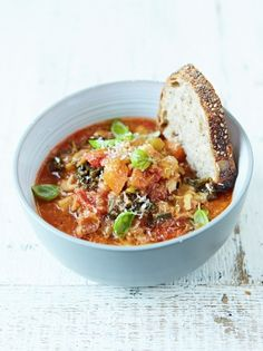 Minestrone Soup | Food Revolution | Jamie Oliver (just leave the bacon out)