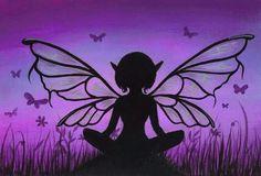 Purple fairy silhouette.