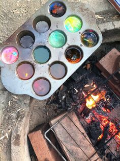 melting crayons over the fire
