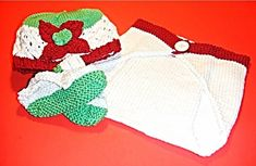 Ivory Infant Christmas Hat and Bootie Socks Set for Baby Red 3-6M $72