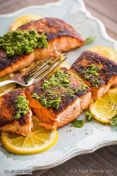 Perfectly Seared Salmon with Lemon & Pesto