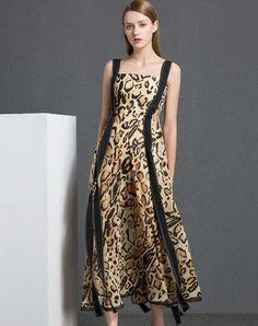 #AdoreWe #VIPme Shift Dresses❤️Designer YI PIN WAN Multicolor Leopard Spaghetti Strap Sleeveless Swing Maxi Dres - AdoreWe.com