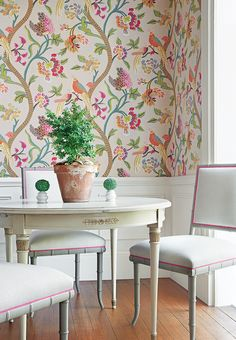 Janta Bazaar Wallpaper-- Darien Chairs from Thibaut in Rye from Anna French Linens-- Contrast trim in Kent from Anna French Linens