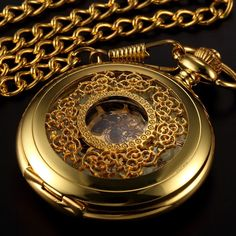 Gold Flower Skeleton Pocket Watch