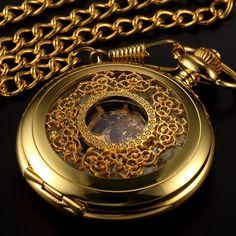 Gold Flower Skeleton Pocket Watch