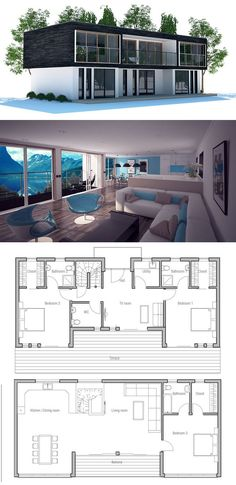 Contemporary Home Plan with open planning and three bedrooms, Contemporary House Design. Modern House Plan to Modern Family. Contemporary House Plans, Modern House Plans, Small House Plans, Beach House Floor Plans, Building A Container Home, Container House Plans, Shipping Container Homes, Shipping Containers, Plan Design