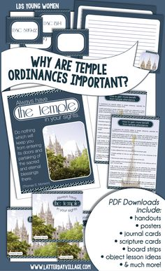 """LDS YOUNG WOMEN Come, Follow Me lesson helps for July Ordinances and Covenants """"WHY ARE TEMPLE ORDINANCES IMPORTANT"""
