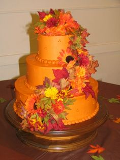 Very Fall Wedding Cake...made by Fran Heath, our cousin..for our wedding!