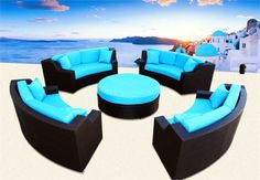 MODERN SAVANNAH ROUND WICKER SECTIONAL SOFA OUTDOOR PATIO FURNITURE PLUS BONUS! CHOOSE COLORS!