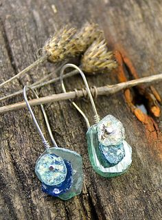 Ancient Roman Glass Riveted Earring Sterling Wild by joykruse