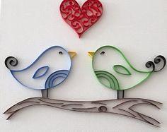 Pájaros del amor - arte de papel tubulares