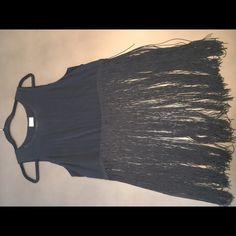 Fringe tank top Black crop tank with long fringe bottom Urban Outfitters Tops Tank Tops