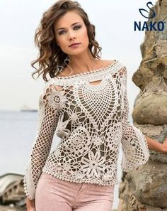 Today I have an amazing crochet irish blouse for you. Also a pattern of this lovely blouse for women. And schemes of this crochet blouse I still have not done anything of Irish crochet, I was starting to make some models of this technique but I Cardigan Au Crochet, Black Crochet Dress, Crochet Cardigan, Crochet Shirt, Lace Sweater, Cardigan Pattern, Freeform Crochet, Tunisian Crochet, Irish Crochet