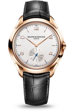 Discover the Clifton 10060 18K red gold watch with manufacture movement, designed by Baume & Mercier, Swiss Watch Maker.
