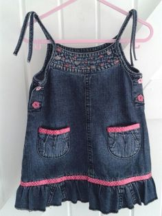 DENIM  BABYBLUES ' Pink heart' Dress £12.50 See https://folksy.com/shops/sldelaney