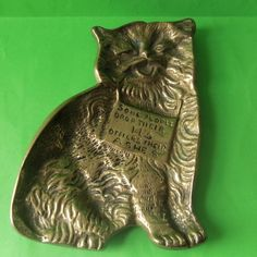 """An old brass ashtray in the form of a cat , 5"""" x 3.5"""""""