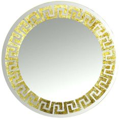 Round David Marshall Reverse Gilt Greek Key Mirror   1stdibs.com