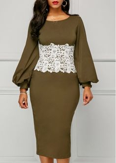 Lace Patchwork Bishop Sleeve Back Slit Dress on sale only US$34.42 now, buy cheap Lace Patchwork Bishop Sleeve Back Slit Dress at liligal.com