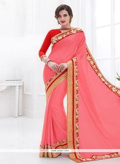 Winsome Pink Embroidered Work Faux Chiffon Designer Saree Model: YOSAR7416