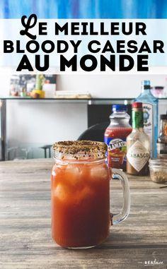 Voici ma recette de Bloody Caesar au gin. C'est le meilleur Bloody Caesar au monde, rien de moins! En plus, il est très facile à préparer. Drinks Alcohol Recipes, Non Alcoholic Drinks, Vodka, Le Gin, I Want To Eat, Brunch, Cooking, Tableware, Liquid Smoke