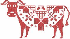 Red cow cross stitch free embroidery design - Cross stitch machine embroidery - Machine embroidery forum
