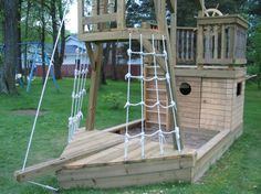 hottest pictures backyard playground ideas pirate ships style career : Your fortunate few my buddies, even so, got their own health and fitness center units of which was comprised of material rods that supported swings, s. Backyard Playground, Backyard For Kids, Backyard Projects, Diy For Kids, Kids Pirate Ship, Pirate Ships, Play Yard, Kids Play Area, Outdoor Play