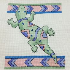 Completed SOUTHWEST GECKO LIZARD Counted Cross Stitch Green Purple Pink on Aida #Unbranded #ad