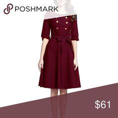 """💝 SALE Classic Burgundy Fit and Flare The perfect winter holiday dress with half sleeves and a belt that can be tied in front or in the back in a drapey, curve skimming stretch cotton blend fabric that makes it comfortable to wear all evening.  Approximate measurements  M bust 17.5"""" waist 14"""" length 41""""  XL/1X bust 21"""" waist 18"""" length 43.5""""  ❌ Sorry, no trades.  shirtdress shirt dress  050225 fairlygirly Dresses Midi"""