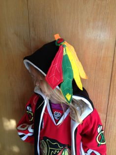A personal favorite from my Etsy shop https://www.etsy.com/listing/127910474/chicago-blackhawks-inspired-hat