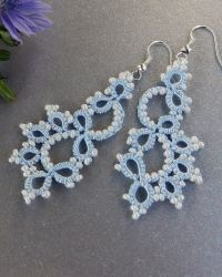 """Tatted blue earrings for a bride """"Snow Queen"""", made in fryvolite technique. Designed by LacyLove Studio."""