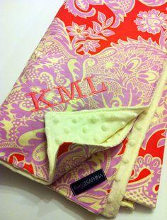 Chic monogrammed baby blanket - Amy Butler love sandlewood tangerine fabric.