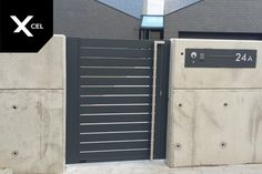 Modern Driveway, Modern Fence, Fence Doors, Fence Gate, Front Gates, Front Fence, Gate Handles, Gate Post, Driveway Entrance