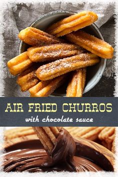 Churros, a traditional fried dough Mexican treat, is easy and fun to make in an air fryer. Coated in cinnamon-sugar, this delightful homemade dessert is sure to become a big hit at your next Mexican t Air Fryer Recipes Breakfast, Air Fryer Recipes Easy, Air Fryer Recipes Dessert, Chocolate Dipping Sauce, Homemade Desserts, Homemade Churros Recipe, Churro Recipe, No Cook Meals, Mexican Food Recipes