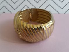 Vintage Hinged Cuff - Large Gold Bracelet - 1970's Jewelry