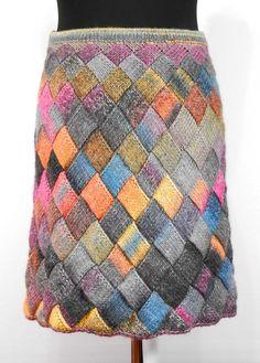 Entrelac knit skirt, knee length skirt for women, multicolored skirt, a-line women skirt, comfy wool Fingerless Mittens, Knitted Gloves, Knitting Accessories, Knit Skirt, Wool Skirts, Crochet Fashion, Wool Yarn, Hand Knitting, Knitting Ideas