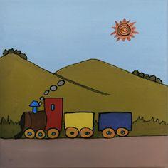 """""""Tren bajo montaña"""" // 20 x 20 x 3,5 cm // Gouache (pintura al agua) sobre lienzo // Bastidor pintado (no requiere marco) // Obra original, pintada a mano **55,00 € ** Más información en el tablero """"Mankel: venta y contacto"""""""